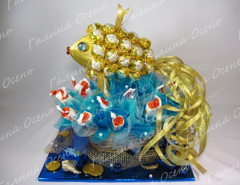 Золотая рыбка из конфет своими руками пошаговое фото для начинающих 11